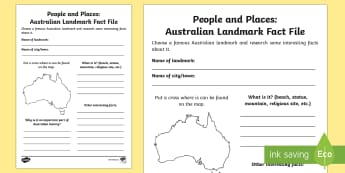 People and Places - Australian Landmark Fact File -  People and Places, Geography, English, Writing, Information Report, australia, landmarks, australia