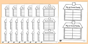 Sound Family House Writing Template - sound family, writing template, sound family house, sound family writing template, sound writing template