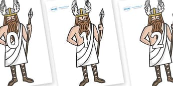 Numbers 0-50 on Viking Gods - 0-50, foundation stage numeracy, Number recognition, Number flashcards, counting, number frieze, Display numbers, number posters