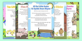 Spring Animal Songs and Rhymes Resource Pack - Spring animals chicks, rabbits, bunnies, lambs, pigs, ducks