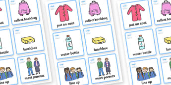 Visual Timetable (Going Home - Girls) - going home, walking, Visual Timetable, SEN, Daily Timetable, School Day, Daily Activities, Daily Routine KS1, girls, bag, parents, line up