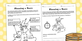 Planning a Route Worksheet - United Kingdom, country, routes