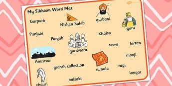 Sikhism Word Mat - sikhism, sikhs, visual aid, keywords, word mat