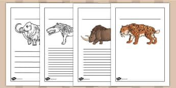 Prehistoric Beasts Writing Frames - history, writing aid, write