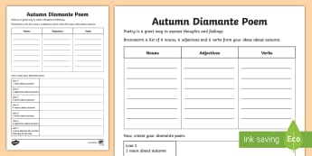 Autumn Diamante Poem Activity Sheet - Autumn, Literacy, English, Writing, Poem, Poetry, Diamante Poem