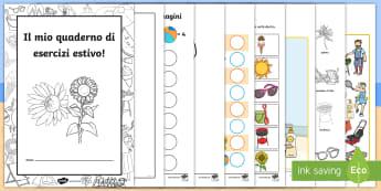 Il mio quaderno di esercisti estivo Attività - estate, esercizi, quaderno, colorare, numeri, matematica, estivo, materiale, scolastico, italiano, i