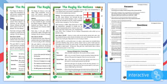 The Rugby Six Nations Differentiated Reading Comprehension Activity - KS1 & KS2 Rugby Six Nations  (4th February 2017), six nations, 6 nations, rugby, rugby union, rugby