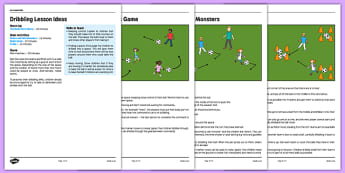 KS1 Football Skills 1 Dribbling Lesson Pack - football, PE, sport, exercise, KS1, year 1, year 2, skills, physical education, ball skills, team sports