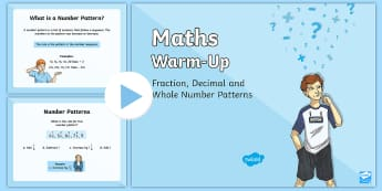 Year 5 Number Patterns Warm-Up PowerPoint - ACMNA107, year 5 maths, fractions, decimals, number patterns, fraction patterns, decimal patterns, W