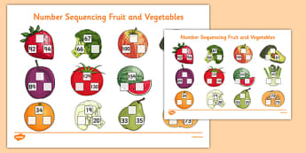 Number Sequencing Fruit and Vegetables - number sequencing, fruit and vegetables
