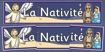 Banderolle d'affichage sur la Nativité - french, la nativite, display banner, display, Nativité, banderolle, affichage, panneau