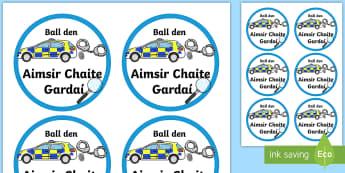 Past Tense Police Badges Gaeilge Badges - ROI - Irish Language Week Gaeilge Resources - 1st-17th March,Irish, stickers, badges, police.