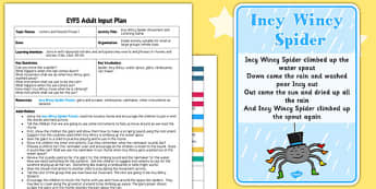Incy Wincy Spider Movement Listening Activity EYFS Adult Input Plan Pack