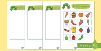Tarjetas de clasificar la comida sana para ayudar la enseñanza de: La oruga glotona - lecto, leer, literatura infantil, cuentos, cuento, crecimiento, ciclo de vida, ciclo vital, bichos,