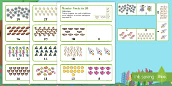 Treasures in the Garden Number Bonds to 20 Dominoes - Match, Pair, Total 20, Pictorial Representation, Add