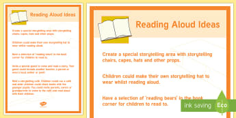 Reading Aloud Ideas Poster - reading, reading out loud, confidence, speaking and listening