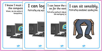 ICT Area Rules Posters Polish Translation - polish, ICT Area, rules, classroom Area Signs, KS1, ICT, Banner, Foundation Stage Area Signs, Classroom labels, Area labels, Area Signs, Classroom Areas, Poster, Display, Areas, Computer Area, ICT Area