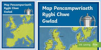 Map Pencampwriaeth Rygbi Chwe Gwlad - Rugby, Rygbi, Paris, iwerddon, Caeredi, Edinburgh, Lundain, London, Cardiff, Caerdydd, Twrnament, pe