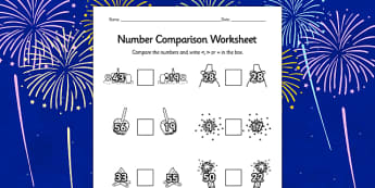 Bonfire Night Number Comparison Worksheet - compare, maths, math
