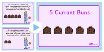 5 Currant Buns Nursery Rhyme PowerPoint - powerpoint, nursery