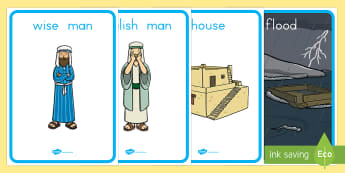 The Wise Man and The Foolish Man Display Posters - usa, america, the wise man, the foolish man, wise, foolish, sand, rock, display, banner, poster, sign, rain, houses, building, house, bible story, bible
