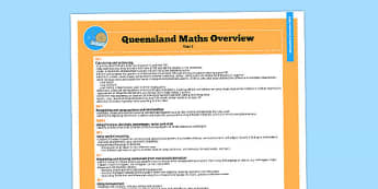 Queensland Curriculum Year 1 Maths Numeracy Syllabus Overview - australia