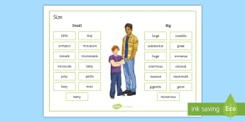 Size Word Mat - secondary, sen, simple, words, big, small