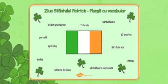 Ziua Sf Patrick, Plansa cu vocabular - irlanda, sarbatoare, martie
