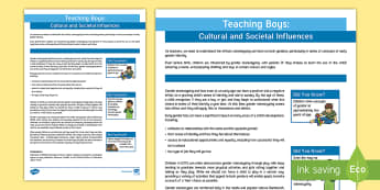 Teaching Boys: Culture and Society Adult Guidance - Teaching, boys, culture, society, stereotyping, gender