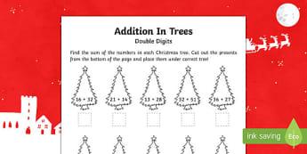 Double digit addition Christmas Activity Sheet-Australia