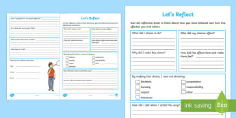 Let's Reflect Activity Sheet - Let's Reflect   Activity Sheet, PSHE, classroom management, behaviour