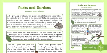 Parks and Gardens Home Learning Challenges - outside, outdoors, wildlife, animals, plants, flowers, homework, parents
