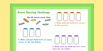A4 Sweet Sorting Maths Challenge Poster - challenge, poster, math