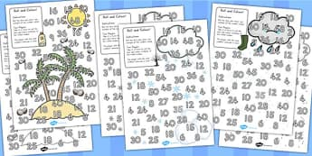 Winter Colour and Roll Worksheet Temperate - colour, dice games