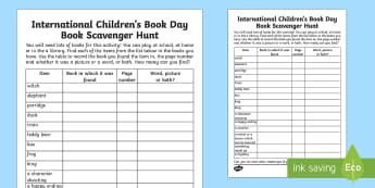 International Children's Book Day Scavenger Hunt - International Children's Book Day, books, reading, book day,