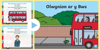 The Wheels on the Bus PowerPoint Welsh - Welsh Second Language Songs and Rhymes, Wheels on the Bus, Welsh songs.,Welsh