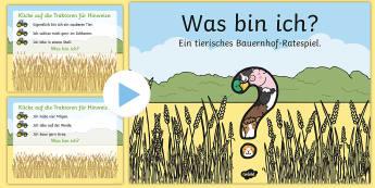 Bauernhoftiere: Was bin ich? PowerPoint - Bauernhof, Tiere, Kuh, Schwein, Pferd, Ente, Schaf, Huhn, farm, animals, cow, pig, horse, duck, shee