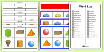 3D Shape Bingo - 3D shapes, Shape Bingo, Learning Shapes, Shape Game, Naming Shapes, Shape Properties, numeracy, geometry, shapes, 3d, bingo