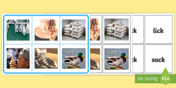 ck sound photo matching board and cards Activity - activity, mathching, phonics,phase two, picture cards, phase 2, initial sounds,