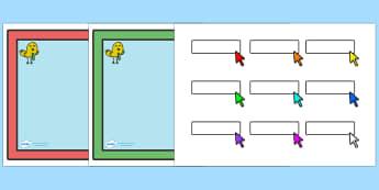 Editable Self Registration Labels (Computer Screens) - Self registration, register, computer screen, computer, editable, labels, registration, child name label, printable labels