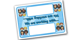 Editable 'Working With' Table Signs - Group table signs, table sign, group signs, working sign