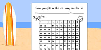 Summer Themed Missing Numbers Number Square - counting aid, maths