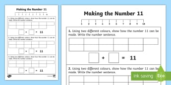 Ways of making 11 Activity Sheet - Counting, Adding, Addition, worksheet, bonds, facts, number
