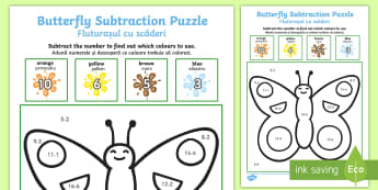 Butterfly Subtraction Puzzle (0 10) Minibeasts Activity Sheet English/Romanian - Butterfly Addition Puzzle (0-10) - Minibeasts - minibeast investigation, addition, plus, maths game,
