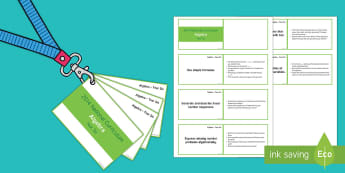 Lanyard Sized Year Six Algebra Objectives Cards - Year six, year 6, y6, objectives, algebra, National Curriculum, number values, equation, missing num