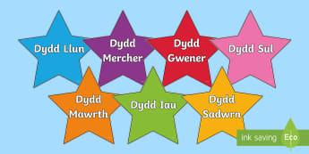 Dyddiau'r Wythnos ar Sêr Amryliw - Dyddiau'r Wythnos, Days of the Week, Dydd Llun, Dydd mawrth, Dydd mercher, Dydd Iau, Dydd Gwener, D