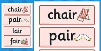 Air Sound Word Cards - air sound, word cards, word, cards, sound