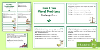 Stage 3 Maths  Mass Differentiated Challenge Cards - Stage 3, Maths, Mass, task cards, Australian curriculum, questions, challenge cards,Australia