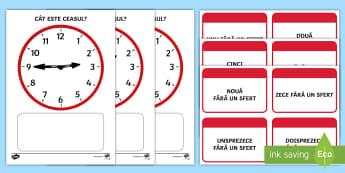 """Citirea ceasului: Pune în corespondență """"fără un sfert"""" Joc - timpul, unități de măsură, activități, română, activitate, citirea ceasului"""