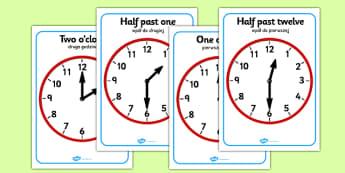 O'clock and Half Past on Clocks Polish Translation - polish, o clock, half past, clock, time